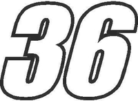 36 Race Number Impact Font Decal / Sticker