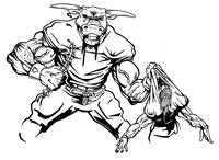 Football Bull Mascot Decal / Sticker 06
