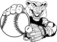 Baseball Bear Pitching Mascot Decal / Sticker