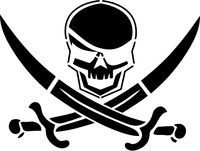 Skull and Crossed Swords  Decal / Sticker 04