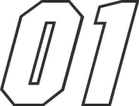 01 Race Number Motor Font Decal / Sticker
