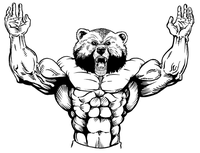 Weight Training Bear Mascot Decal / Sticker 10