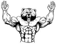 Weight Training Bear Mascot Decal / Sticker 10