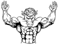 Weightlifting Buffalo Mascot Decal / Sticker wt1