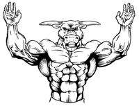 Weightlifting Bull Mascot Decal / Sticker 1