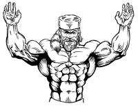 Weightlifting Frontiersman Mascot Decal / Sticker 1