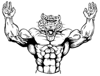 Weightlifting Leopards Mascot Decal / Sticker 1