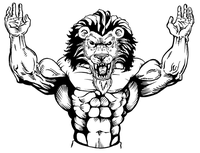 Weightlifting Lions Mascot Decal / Sticker 1