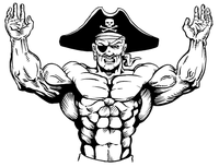 Weightlifting Pirates Mascot Decal / Sticker 1