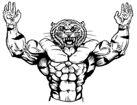 Weightlifting Tigers Mascot Decal / Sticker 1