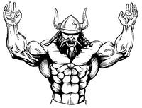 Weightlifting Vikings Mascot Decal / Sticker 1