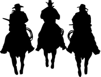 Three Cowboys Decal / Sticker 03dc