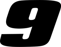 9 Race Number Decal / Sticker SOLID c