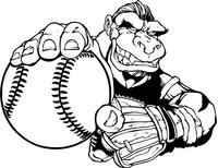 Gorillas Baseball Mascot Decal / Sticker