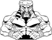 Weightlifting Frontiersman Mascot Decal / Sticker