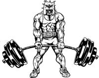 Weightlifting Bulldog Mascot Decal / Sticker