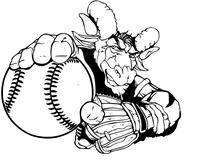 Rams Baseball Mascot Decal / Sticker 04