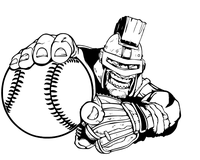 Trojans Baseball Mascot Decal / Sticker