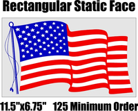 """11.5""""x6.75"""" Static Cling American Flag Decals / Stickers in BULK"""