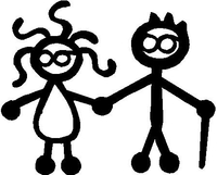 Old Couple in Glasses Stick Figure Decal / Sticker