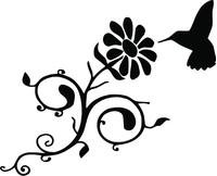 Hummingbird Daisy Flower Decal / Sticker 01