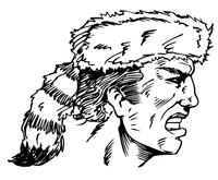 Frontiersman Mascot Decal / Sticker 3