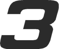 3 Race Number Hemihead Font Decal / Sticker