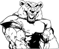 Football Bear Mascot Decal / Sticker 04