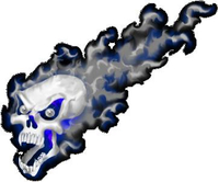 Blue Flaming Skull Decal / Sticker