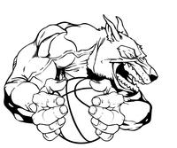 Wolves Basketball Mascot Decal / Sticker