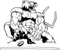 Football Bear Goalpost Mascot Decal / Sticker
