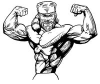 Weightlifting Frontiersman Mascot Decal / Sticker 3