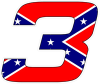 Confederate Flag 3 Race Number Hemihead Font Decal / Sticker 2