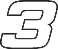 3 Race Number Hemihead Font Decal / Sticker