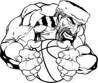 Basketball Frontiersman Mascot Decal / Sticker