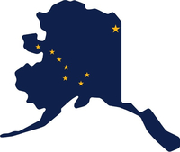 Alaska State Outline Flag Decal / Sticker 02