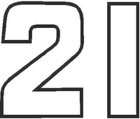 21B Race Number Outline Decal / Sticker