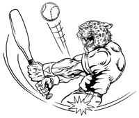 Baseball Leopard Mascot Decal / Sticker 3