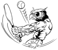 Baseball Owls Mascot Decal / Sticker 1