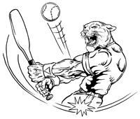Baseball Cougars / Panthers Mascot Decal / Sticker 1