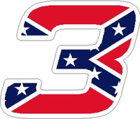 Confederate Flag 3 Race Number Hemihead Font Decal / Sticker