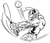Baseball Batter Hornet, Yellow Jacket, Bee Mascot Decal / Sticker 07