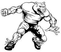 Football Bear Mascot Decal / Sticker 09