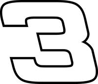 3 Race Number Hemihead Font Decal / Sticker c