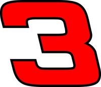 3 Race Number Hemihead Font 2 Color Decal / Sticker d