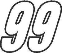 99 Race Number Outline Decal / Sticker