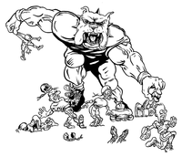 Football Bulldog Mascot Decal / Sticker 09