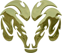 Simulated 3D Gold Chrome Ram Decal / Sticker 34