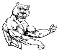 Weight Training Bear Mascot Decal / Sticker