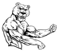 Weight Training Bear Mascot Decal / Sticker
